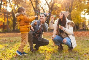 Family outside in Autumn